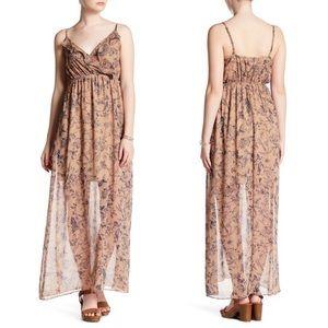 Soprano Tan Floral Chiffon Ruffle Tank Maxi Dress